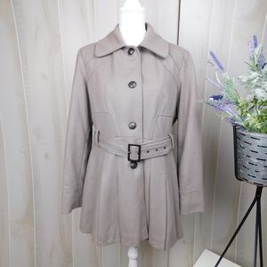 Guess Tan Brown Flared Belted Wool Coat